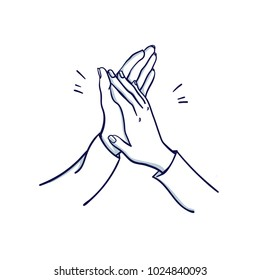 Woman's applause. Two woman's hands applaud. Hand drawn doodle cartoon vector illustration.