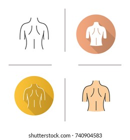 Woman's back icon. Flat design, linear and color styles. Isolated vector illustrations