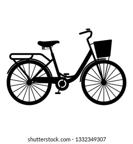 Woman's bicycle with basket Womens beach cruiser bike Vintage bicycle basket ladies road cruising icon black color vector illustration flat style simple image