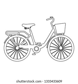 Woman's bicycle with basket Womens beach cruiser bike Vintage bicycle basket ladies road cruising icon black color outline vector illustration flat style simple image
