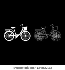 Woman's bicycle with basket Womens beach cruiser bike Vintage bicycle basket ladies road cruising icon set white color vector illustration flat style simple image