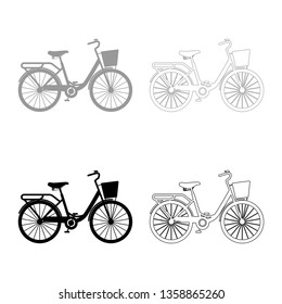 Woman's bicycle with basket. Women's beach cruiser bike . Vintage bicycle basket ladies road cruising icon set. black color vector illustration flat style simple image