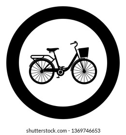 Woman's bicycle with basket Womens beach cruiser bike Vintage bicycle basket ladies road cruising icon in circle round black color vector illustration flat style simple image