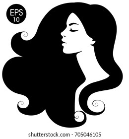 Woman's black silhouette. Vector fashion portrait. Black and white silhouette