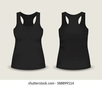 Woman's black sleeveless tank top in front and back views. Vector illustration with realistic male shirt template. Fully editable handmade mesh. 3d singlet used as mock up for prints or logo design.