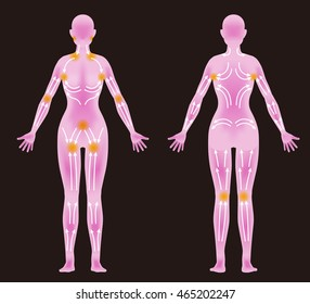 woman's body front / back and lymphatic massage diagram, Treatment of the swelling, vector illustration