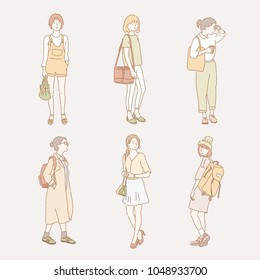 woman's casual fashion styles. hand drawn style vector doodle design illustrations.