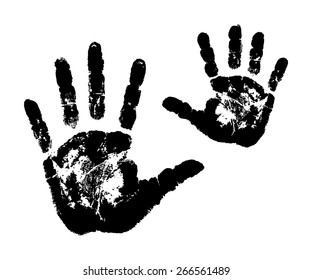 Womans And Childs Handprints Vector Illustration