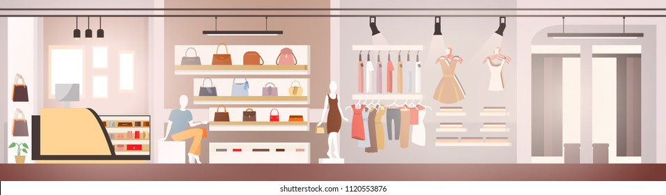 Womans Clothes Shop or Boutique with Dressed Female Mannequins, Trendy Casual Dresses on Hangers, Handbags and Day Clutches on Shelves Flat Vector Illustration. Clothing Store Showcase or Showroom
