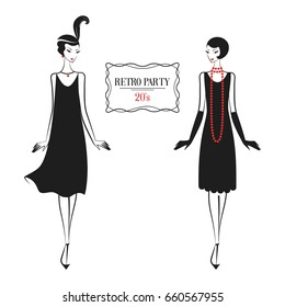 Womans in cocktail dress in vintage style 1920's. Retro fashion vector illustration isolated on white background.