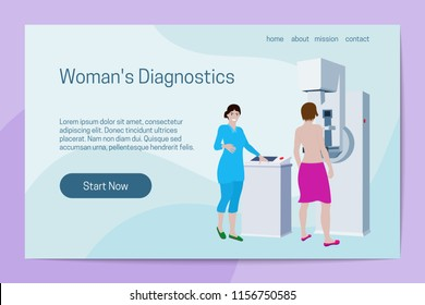 Woman's Diagnostics concept. Doctor examines patient on mammography machine. Landing page template.
