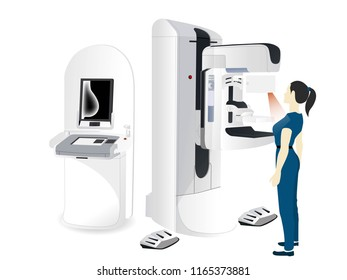 Woman's Diagnostics concept. Doctor examines patient on mammography machine.