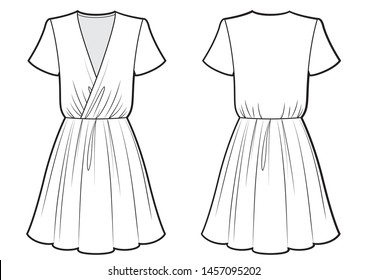 womans dress with folds bw sketch