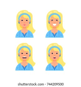 Woman's emotions. Blond girl avatar. Facial expression. Vector illustration in a flat style