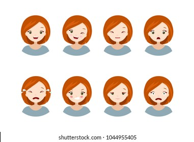 Woman's emotions - collection of a different emotions, happy, sad, angry, scared, crying, tired, cheerful, wink. Vector illustrations with cute cartoon girl