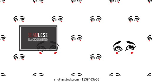 Woman's eyes face expressions: confused. Fashion seamless pattern. Hand drawn vector art on white background.