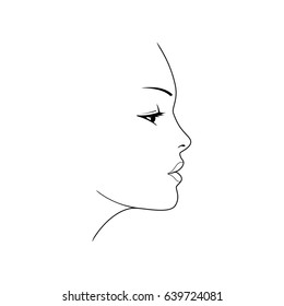 Woman's face. Beautiful female face silhouette in profile. Isolated vector illustration on white background.
