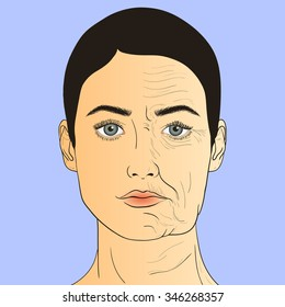 Woman's face before and after aging. The same person in her youth and old age. Vector Illustration.