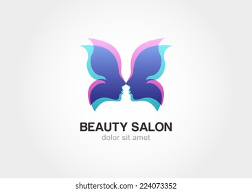 Woman's face in butterfly wings shape. Abstract design concept for beauty salon, spa, cosmetics, plastic surgery. Vector logo template. Young beautiful woman illustration.