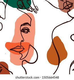 The Woman's Face continuous Line art. Abstract Contemporary collage of geometric shapes in a modern trendy style. Vector Portrait of a female. For Beauty Concept, t-Shirt Print, postcard, poster