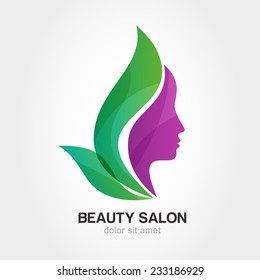 Woman's face in flower leaves. Abstract design concept for beauty salon, massage, cosmetic and spa. Vector female logo design template.