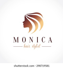 Woman's face and hair. Abstract design concept for beauty salon, massage, cosmetic and spa. Vector logo template.