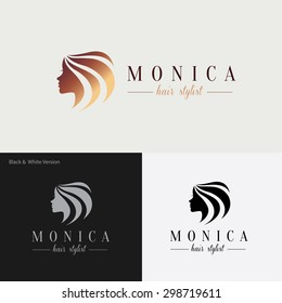 Woman's face and hair. Abstract design concept for beauty salon, massage, cosmetic and spa. Vector logo design template.