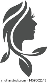 The woman's face and hair are shaped like leaves
