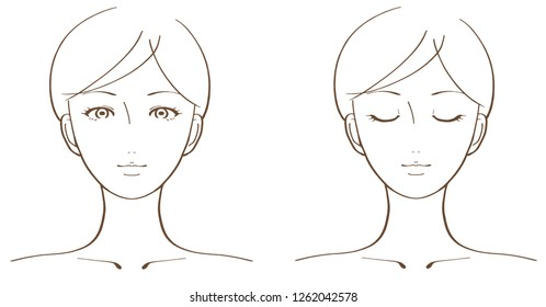 Woman's face illustration set
