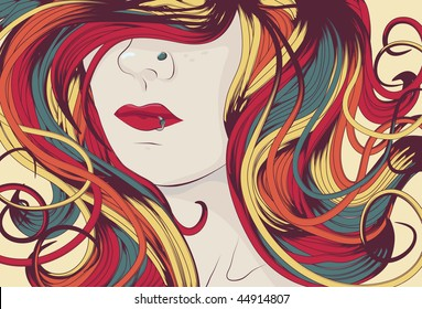 Woman's face with long colorful curly hair. eps10 file.