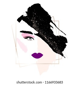 Woman's face with makeup. Abstract face. Nude, pink, gold, lilac, black brush strokes.