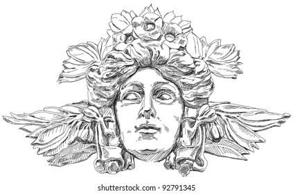 Woman's face with olive branches and flowers woven into the hair. Decorative element of the facade of a historic building in Prague. Czech Republic. Vector illustration