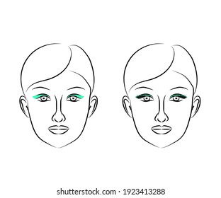 Woman's face on a white background. Sketch. Vector illustration.