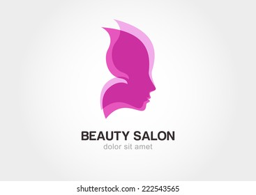 Woman's face in pink butterfly wings. Abstract design concept for beauty salon, spa, massage, cosmetic shop. Vector female logo template.