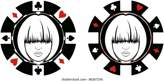 womans face in poker chip