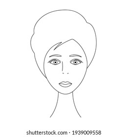 Womans face. Sketch. The head of the girl in full face. Vector illustration. Short pixie haircut. Long eyelashes. Plump lips. Mysterious female portrait. Coloring book. Colorless image.
