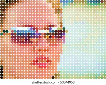 Woman's face. Vector dots background.