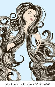 Woman's face with very long detailed hair