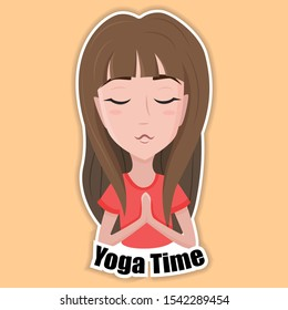 Woman's facial expression. Cute girl doing yoga, relaxation, meditation. Isolated cartoon character design. Vector flat illustration.