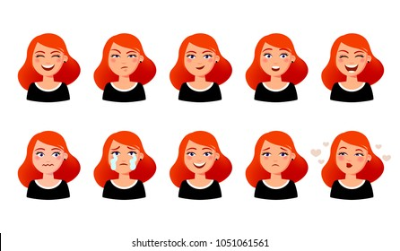 Woman's facial expressions. Cute girl with various emotions vector flat illustration. Ten emotional faces for stickers in cartoon character design isolated on white background.