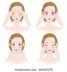 woman's facial lymphatic massage diagram, treatment of the swelling, vector illustration