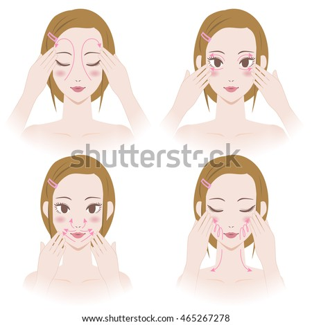 Womans Facial Lymphatic Massage Diagram Treatment Stock Vector