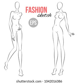 Womans Figure Sketch Different Poses Template For Drawing Stylist And Designers Of Clothes