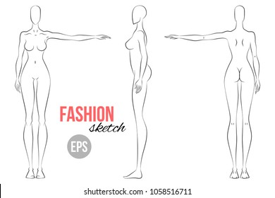 Woman's figure sketch. Different poses. Technical drawing. Vector outline girl model template for fashion sketching. Woman's body. Fashion illustration.