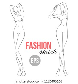 Woman's figure sketch. Different poses. Template for drawing for stylist and designers of clothes. Vector outline girl model template for fashion sketching. Woman's body. Fashion illustration.