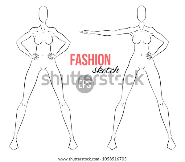 Womans Figure Sketch Different Poses Template Stock Vector (Royalty