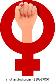 a woman's fist coming up through the woman's symbol