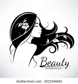 womans hair style stylized sillhouette, beauty salon logo template