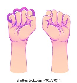 Woman's hand with brass knuckles. Fist raised up. Girl Power. Feminism concept. Realistic style vector illustration in pink and purple pastel goth colors isolated on white.  Sticker, patch design.