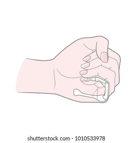 A woman's hand is clenched into a fist. Anatomical image. Metacarpus, phalanx, phalanx of the little finger. Vector. Isolated on white background